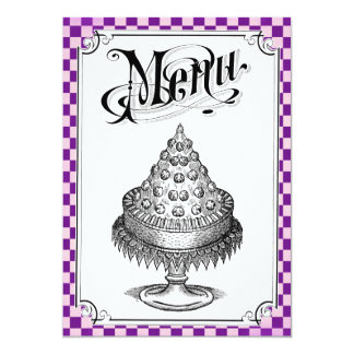 Steampunk Checkerboard Wedding Menu Cards
