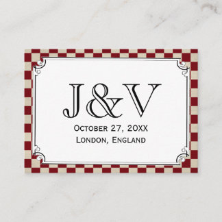 Steampunk Checkerboard Wedding Place Cards