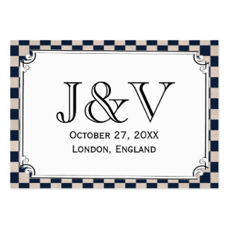 Steampunk Checkerboard Wedding Place Cards Large Business Cards (Pack Of 100)