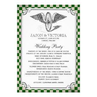 Steampunk Checkerboard Wedding Programs Personalized Invitation
