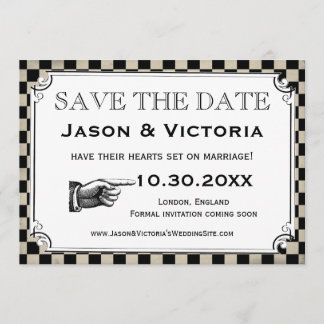 Steampunk Checkerboard Wedding Save the Date Cards