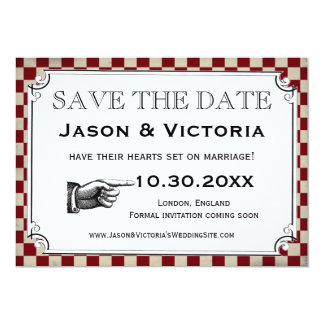 Steampunk Checkerboard Wedding Save the Date Cards Custom Announcement