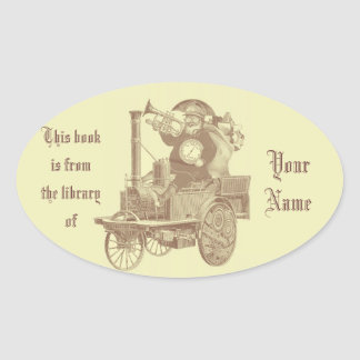 Steampunk christmas - santa in goggles with gifts oval sticker