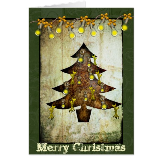 Steampunk Christmas Tree Holiday Card