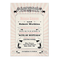 Steampunk Circus Wedding Invitation Blush