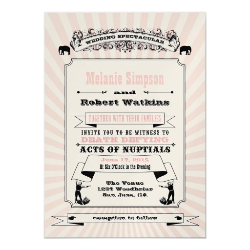 Steampunk Circus Wedding Invitation Blush
