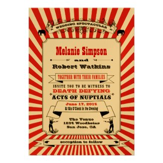 Steampunk Circus Wedding Invitation Red