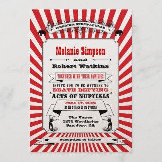 Steampunk Circus Wedding Invitation Red