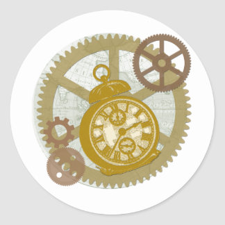 Steampunk Clock and Gears Classic Round Sticker