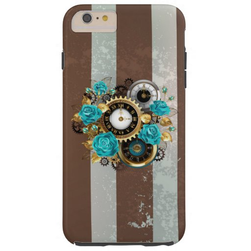 Steampunk Clock and Turquoise Roses on Striped Tough iPhone 6 Plus Case