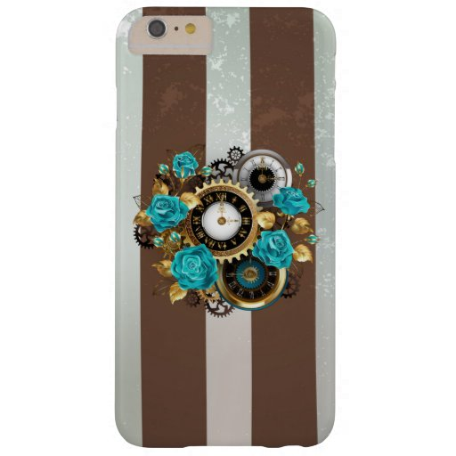 Steampunk Clock and Turquoise Roses on Striped Barely There iPhone 6 Plus Case