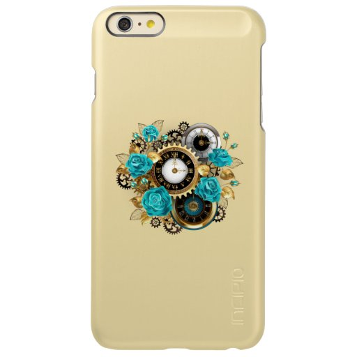 Steampunk Clock and Turquoise Roses on Striped Incipio Feather Shine iPhone 6 Plus Case