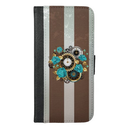 Steampunk Clock and Turquoise Roses on Striped iPhone 6/6s Plus Wallet Case