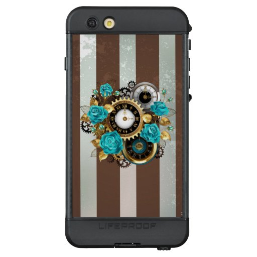 Steampunk Clock and Turquoise Roses on Striped LifeProof NÜÜD iPhone 6s Plus Case