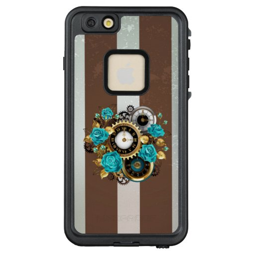 Steampunk Clock and Turquoise Roses on Striped LifeProof FRĒ iPhone 6/6s Plus Case