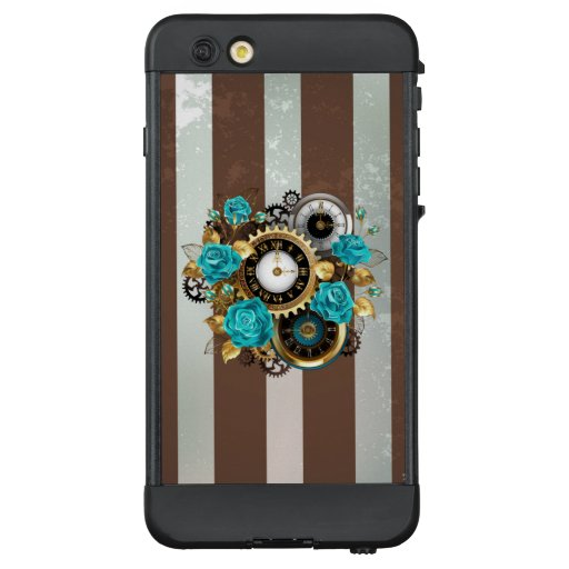 Steampunk Clock and Turquoise Roses on Striped LifeProof NÜÜD iPhone 6 Plus Case