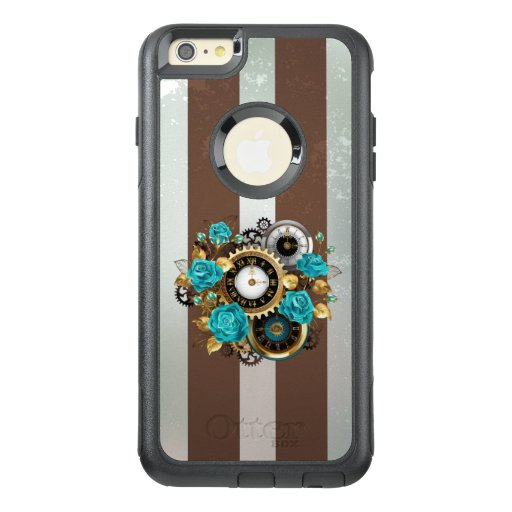 Steampunk Clock and Turquoise Roses on Striped OtterBox iPhone 6/6s Plus Case