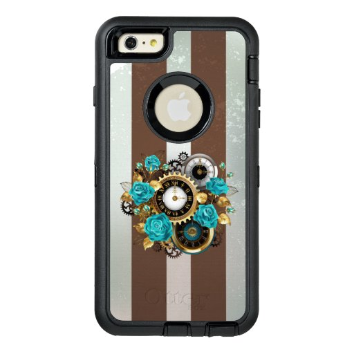 Steampunk Clock and Turquoise Roses on Striped OtterBox Defender iPhone Case