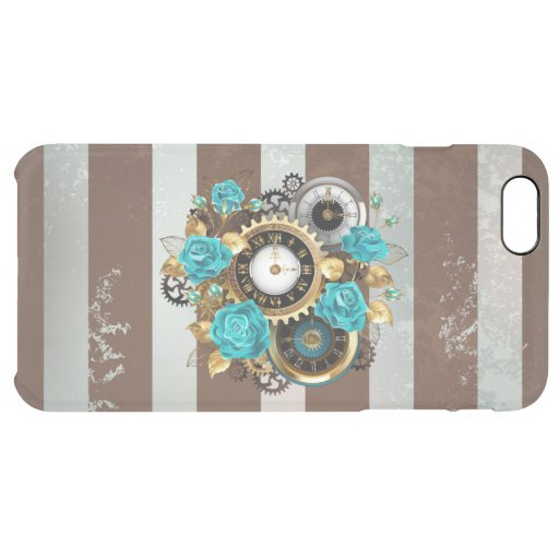 Steampunk Clock and Turquoise Roses on Striped Clear iPhone 6 Plus Case