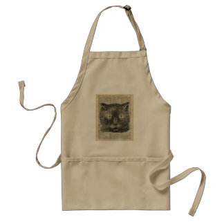 Steampunk Clock Eyes Cat Over Dictionary Page Adult Apron