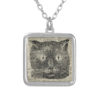 Steampunk Clock Eyes Cat Over Dictionary Page Square Pendant Necklace
