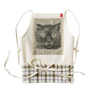Steampunk Clock Eyes Cat Over Dictionary Page Zazzle HEART Apron