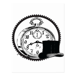 steampunk clock,gear,hat postcard