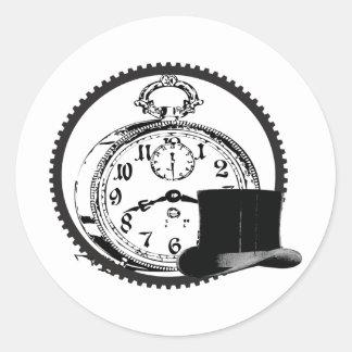 steampunk clock,gear,hat classic round sticker