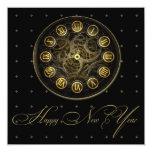 "Steampunk Clock New Years Eve Party Invitation 5.25"" Square Invitation Card"