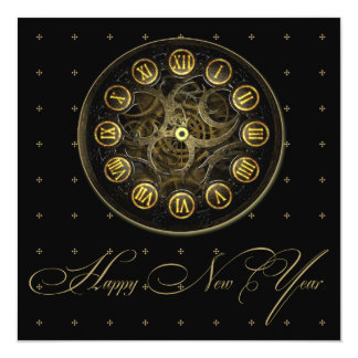 Steampunk Clock New Years Eve Party Invitation