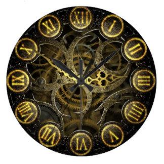 Steampunk clock old victorian gear style