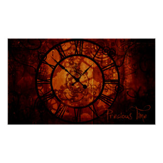 Steampunk clock Poster