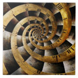 Steampunk - Clock - The flow of time Large Square Tile