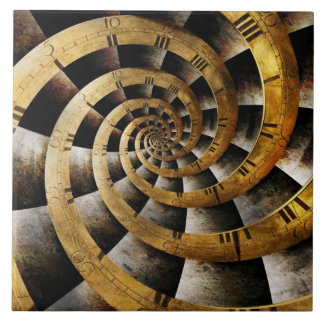 Steampunk - Clock - The flow of time Ceramic Tile