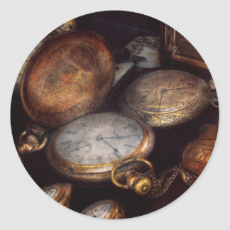 Steampunk - Clock - Time worn Classic Round Sticker