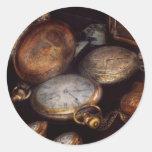 Steampunk - Clock - Time worn Round Stickers