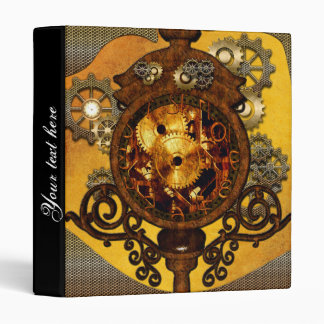 Steampunk, clock with gears 3 ring binder