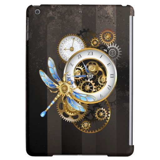 Steampunk Clock with Mechanical Dragonfly Case For iPad Air