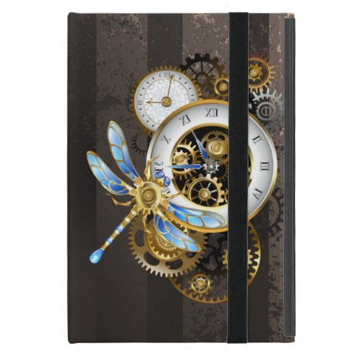 Steampunk Clock with Mechanical Dragonfly Case For iPad Mini