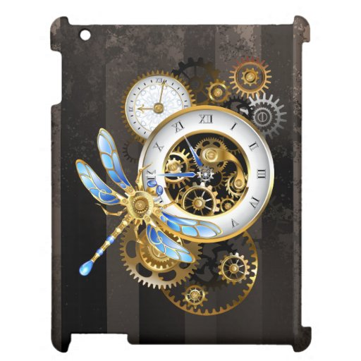 Steampunk Clock with Mechanical Dragonfly Case For The iPad