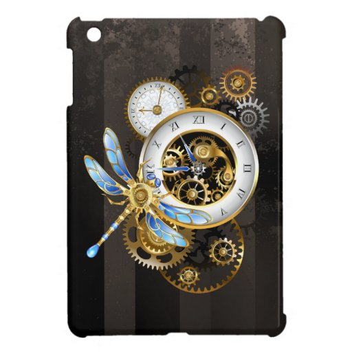 Steampunk Clock with Mechanical Dragonfly Case For The iPad Mini