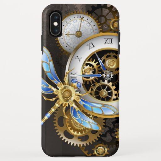 Steampunk Clock with Mechanical Dragonfly iPhone XS Max Case