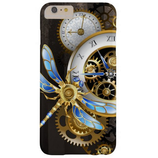 Steampunk Clock with Mechanical Dragonfly Barely There iPhone 6 Plus Case