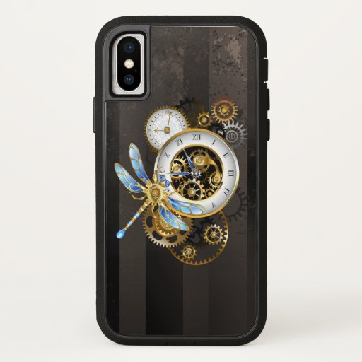 Steampunk Clock with Mechanical Dragonfly iPhone X Case