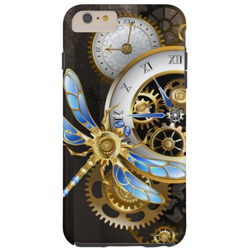 Steampunk Clock with Mechanical Dragonfly Tough iPhone 6 Plus Case