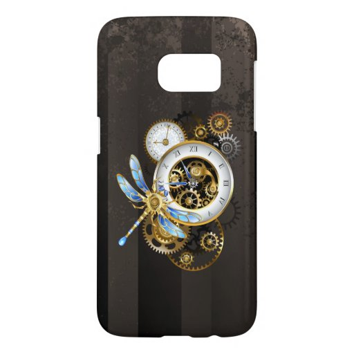 Steampunk Clock with Mechanical Dragonfly Samsung Galaxy S7 Case
