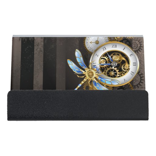 Steampunk Clock with Mechanical Dragonfly Desk Business Card Holder