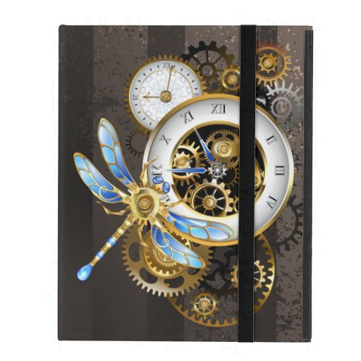 Steampunk Clock with Mechanical Dragonfly iPad Case