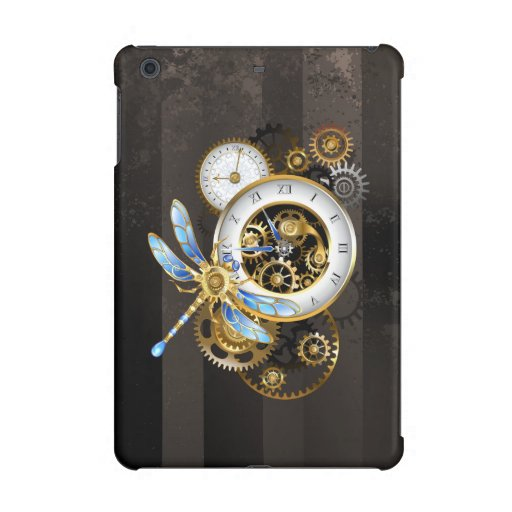 Steampunk Clock with Mechanical Dragonfly iPad Mini Case