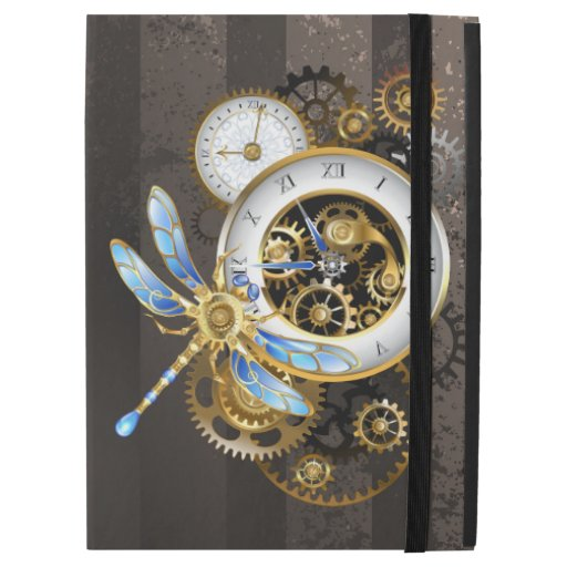 "Steampunk Clock with Mechanical Dragonfly iPad Pro 12.9"" Case"